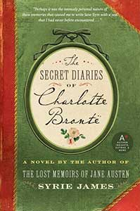 The book cover for The Secret Diaries of Charlotte Bronte is green with a red spine and corners.