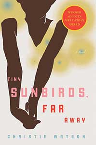 The book cover for Tiny Sunbirds, Far Away shows an illustration of a black woman with her hands clasped in front of herself.