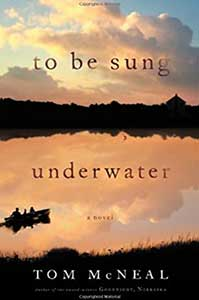 The book cover for To Be Sung Underwater shows a sunset over a body of water. There is a row boat with two people in it on the water.