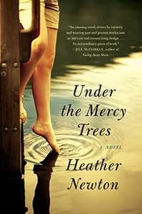The book cover for Under the Mercy Trees shows a human leg and foot with the toes in a body of water.