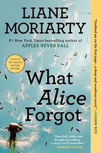 The book cover for What Alice Forgot shows a dandelion pappus with seeds flying in the wind.