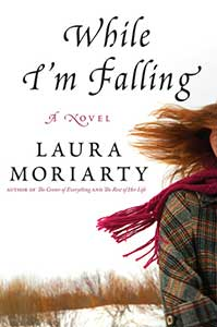 The book cover for While I'm Falling shows a partial person. Red hair is blowing in the wind and they are wearing a red scarf and a green flannel.