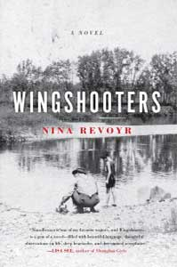 The book cover for Wingshooters is a black and white image of an adult crouching by a pond with a young child standing next to them.