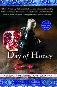 The book cover for Day of Honey, a 2011 Great Group Reads, shows a glass jug with a cork in It next to an open pomegranate.