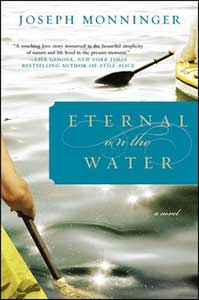 The book cover for Eternal on the Water shows water with an oar and parts of two yellow boats.