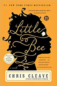 The book cover for Little Bee shows a black silhouette with curly hair. The background is yellow.