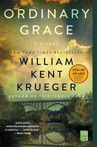 The book cover for Ordinary Grace shows a bridge over water with trees around it and a sky with some white clouds in it.