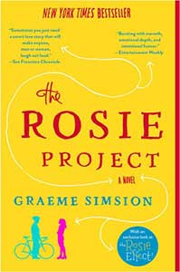 A bright yellow colored cover adorns the Rosie Project. In the bottom left-hand corner, there is an image of a man next to a bike wearing a helmet. Talking to him is a woman.
