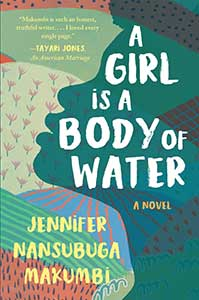 Resembling a patchwork quilt, the book cover for A Girl Is a Body of Water shows fields in different colors with a partially opaque head in profile all in green.