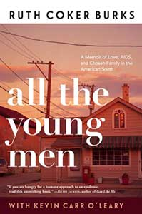 The book cover for All the Young Men, a 2021 Great Group Reads, shows the front of a house that has phone lines surrounding the house. The colors are muted.
