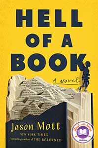 The book cover for Hell of a Book, a 2021 Great Group Reads selection, has a yellow background, black font, and  black images. The bottom half of the cover has a book torn in half with pages exposed and part of a black cover. On top of the book is a small silhouette of a boy.