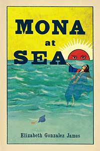 The book cover for Mona at Sea has a yellow sky, red sun with eyes peering out over a blue ocean. A woman in a graduation gown is flowing in the water, her cap with tassels sinks nearby.