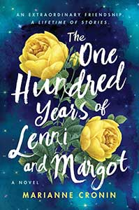 The book cover for The One Hundred Years of Lenni and Margo shows a blue sky with stars. The center of the book has two yellow roses with green leaves and stems.