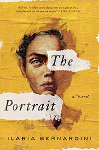 The book cover for The Portrait is golden yellow with a painted face on it. The left eye of the person is covered by part of the title. The left side of the portrait is more outline than filled in painting.