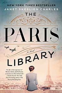 The book cover for The Paris Library shows a woman sitting on the roof of a building overlooking Paris with the Eiffel Tower in the distance.