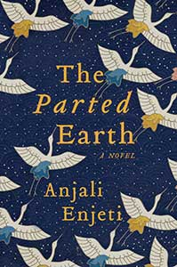 The book cover for The Parted Earth, a 2021 Great Group Reads selection, has a navy blue background with tiny stars. Partial images of fourteen white birds are spread out over the cover.