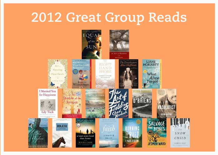The 2012 Great Group Reads book covers are stacked like a pyramid.