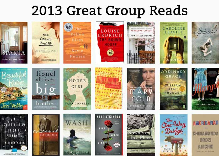 2013 Great Group Reads has the book jackets stacked in rows.